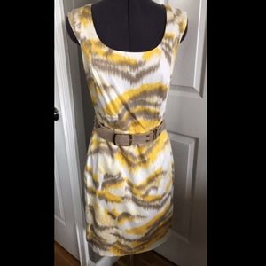 Antonio Melani Yellow And Beige Dress w/ Belt-  4